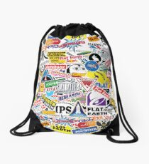 Flat Earth Stickers  Drawstring Bag