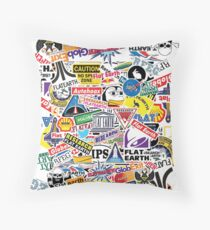 Flat Earth Stickers  Throw Pillow