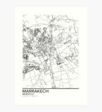 Marrakech map poster print wall art, Morocco gift printable, Home and Nursery, Modern map decor for office, Map Art, Map Gifts Art Print