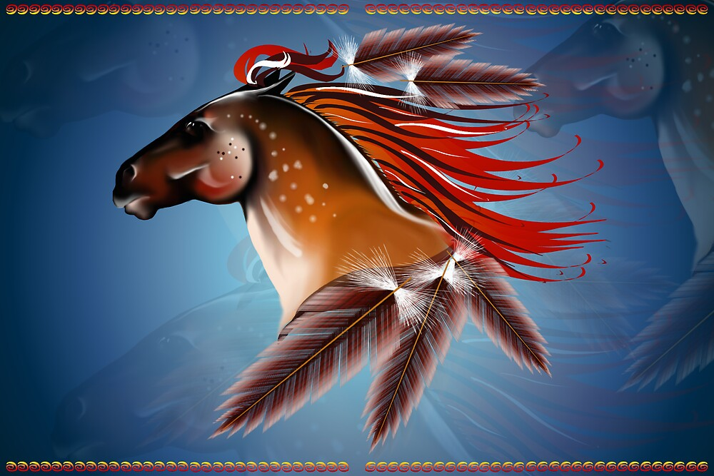 Horse and Red Feathers by Lotacats