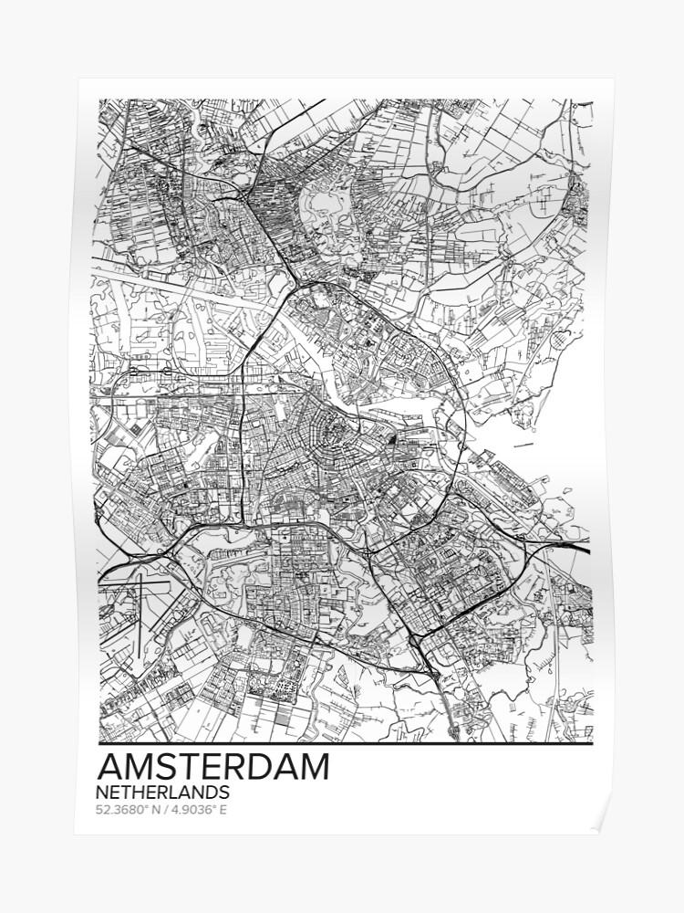 Amsterdam Karte Poster Drucken Wandkunst Niederlande Geschenk Zum Ausdrucken Home Und Kindergarten Moderne Karte Dekor Für Büro Map Art Karte