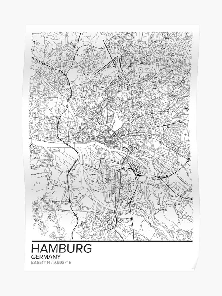Hamburg Karte Poster Drucken Wandkunst Deutschland Geschenk Zum Ausdrucken Home Und Kindergarten Moderne Karte Dekor Für Büro Map Art Map Gifts
