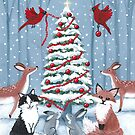 Woodland Friends Decorating the Christmas Tree by Ryan Conners