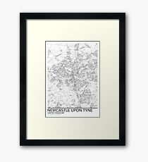Newcastle-upon-Tyne map poster print wall art, United Kingdom gift printable, Home and Nursery, Modern map decor for office, Map Art, Map Gifts Framed Print