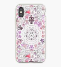Pink Floral Ties and Circles Design Offering by Green Bee Mee iPhone Case
