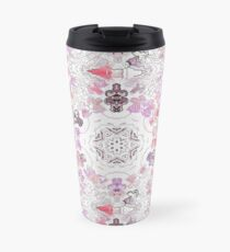 Pink Floral Ties and Circles Design Offering by Green Bee Mee Travel Mug