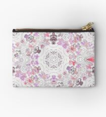 Pink Floral Ties and Circles Design Offering by Green Bee Mee Studio Pouch