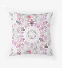 Pink Floral Ties and Circles Design Offering by Green Bee Mee Throw Pillow
