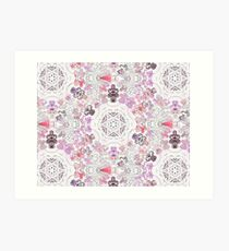 Pink Floral Ties and Circles Design Offering by Green Bee Mee Art Print