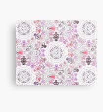 Pink Floral Ties and Circles Design Offering by Green Bee Mee Metal Print