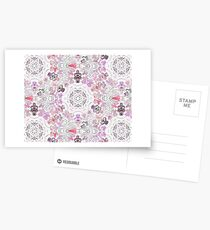 Pink Floral Ties and Circles Design Offering by Green Bee Mee Postcards