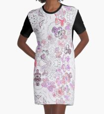 Pink Floral Ties and Circles Design Offering by Green Bee Mee Graphic T-Shirt Dress