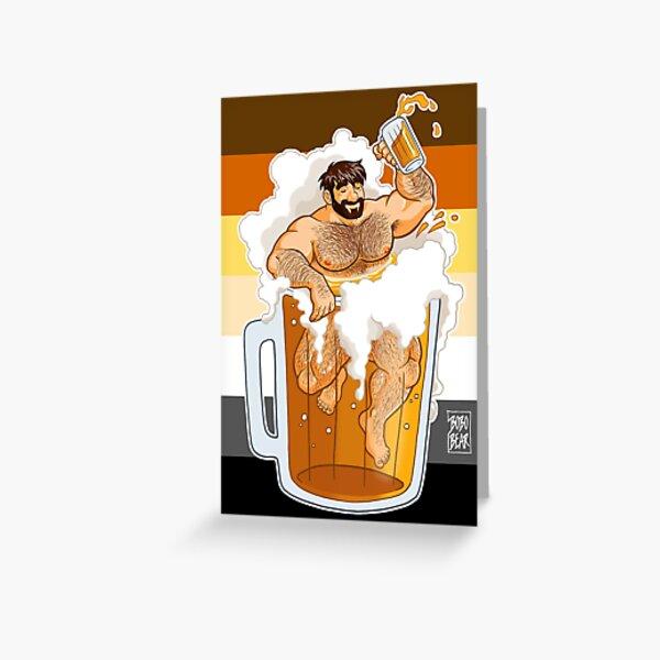 ADAM LIKES A BIG BEER Greeting Card