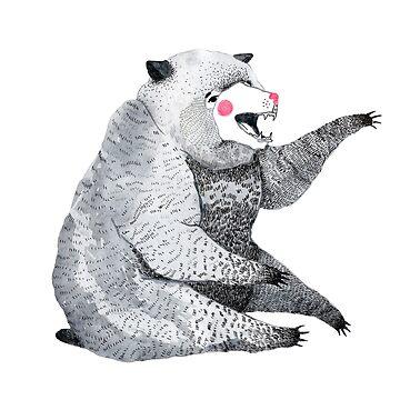 Grey watercolor bear print by nastybo