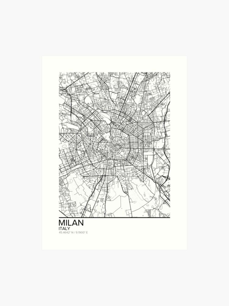 Mailand Karte Poster Print Wandkunst Italien Geschenk Zum Ausdrucken Home Und Kindergarten Moderne Karte Dekor Für Büro Map Art Map Gifts