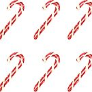 Christmas Watercolor Candy Cane Pattern by Erika Lancaster
