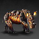 Lava White Rhinoceros: Obsidian by NoelleMBrooks