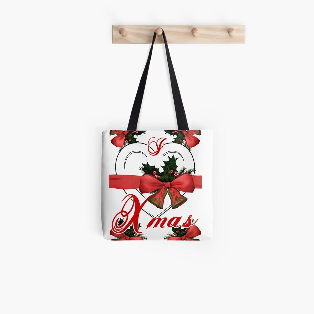 Ich liebe Weihnachtsweihnachtsglockenanordnung mit rotem Band Tote Bag