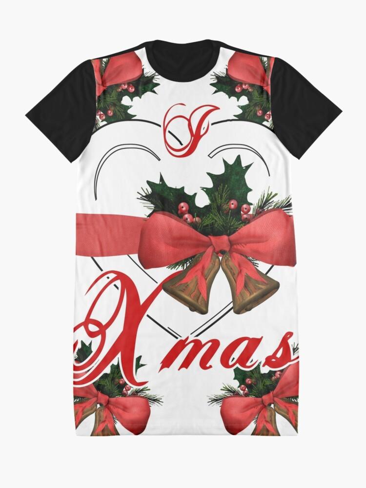 Alternative Ansicht von Ich liebe Weihnachtsweihnachtsglockenanordnung mit rotem Band T-Shirt Kleid