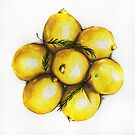Realistic Watercolor Lemons Illustration Health by Erika Lancaster