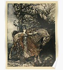 The Rhinegold & The Valkyrie by Richard Wagner art Arthur Rackham 1910 0249 Brunnhilde with Her Horse Poster
