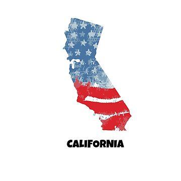 State California. United States of America. Map. by TrishaMcmillan
