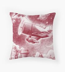 One Plane over the land Throw Pillow