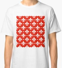 White Fleur de Lis on Red Background Classic T-Shirt