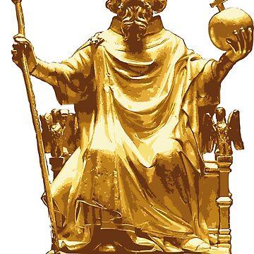 Carolus Magnus gold statue by opngoo