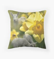 Spring! Lambs and Daffs Throw Pillow