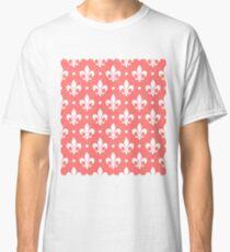 White Fleur de Lis on Pink Background Classic T-Shirt