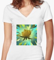 Glowing Rose Graphic Fitted V-Neck T-Shirt
