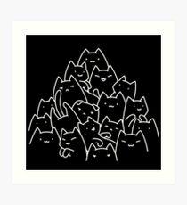 Kitty Pyramid - White on Black Art Print