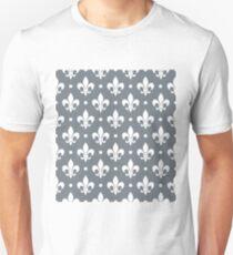 White Fleur de Lis on CoolGrey Background T-Shirt