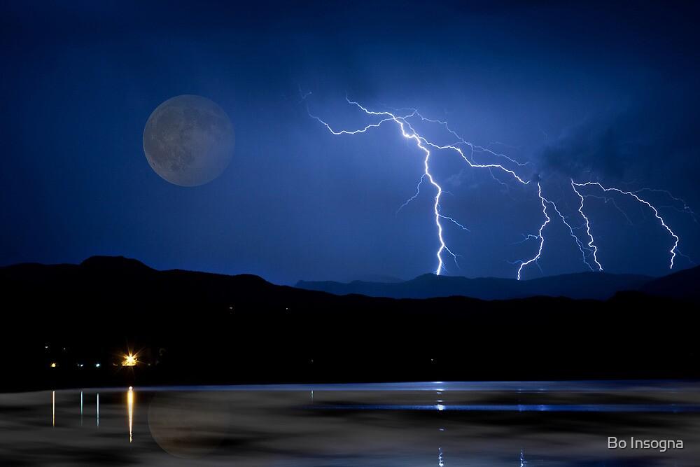 Lightning Storm - Full Moon - Misty Lake  by Bo Insogna
