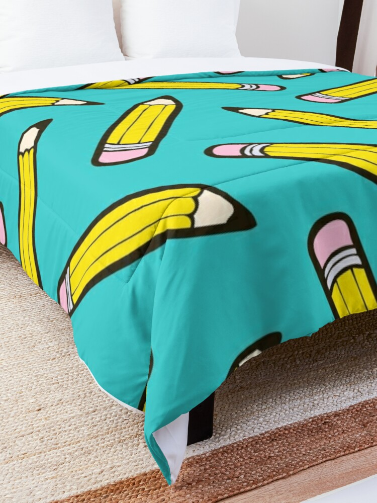 Alternate view of Pencil Power Blue Pattern Comforter