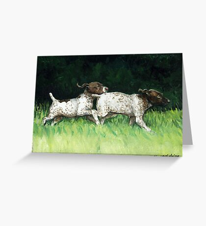 German Shorthaired Pointer Puppies Playing Greeting Card