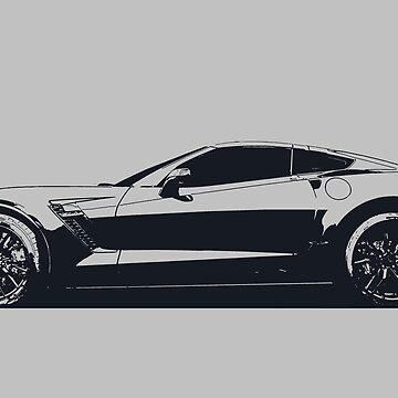 C7 Chevy Corvette - stylized monochrome by mal-photography