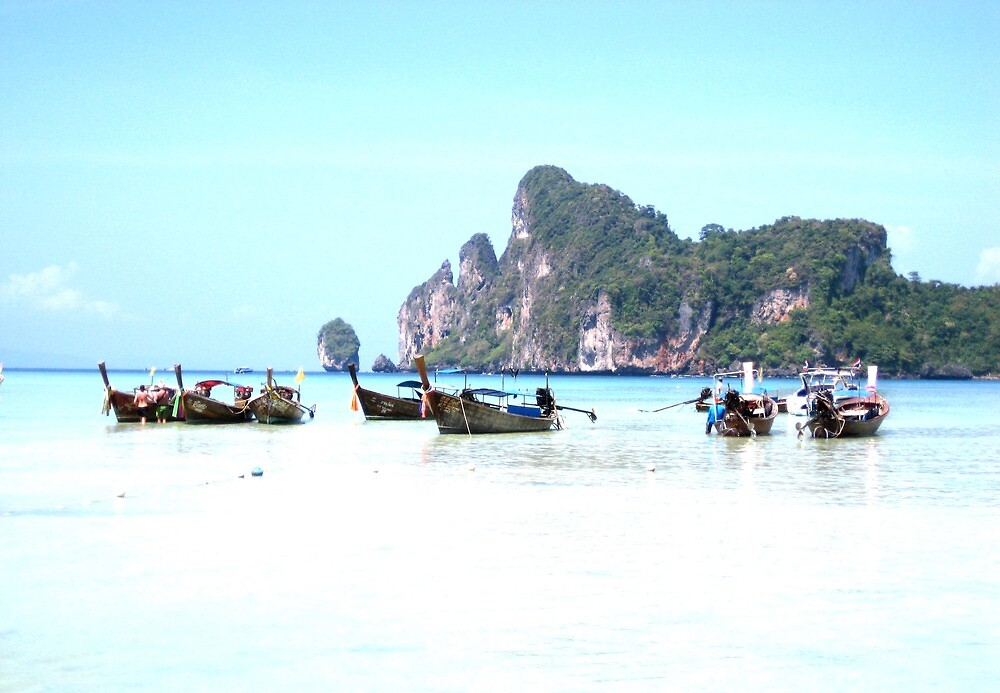 Boats a Drift - Thailand by Ginelle Cooke