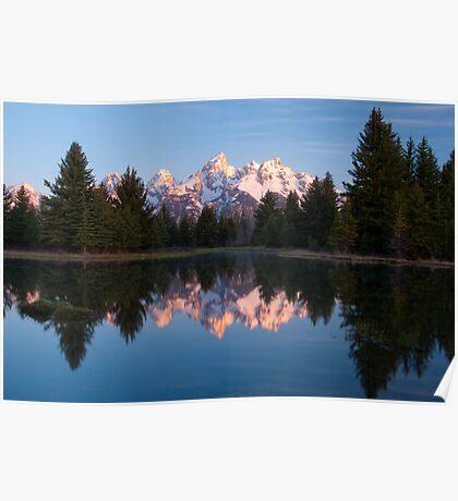 Teton Mountains' Dawn - Schwabacher Landing Poster