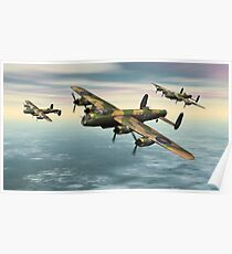 A Flight of Avro Lancaster bombers Poster
