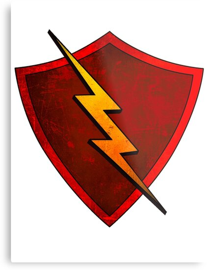 Superhero Design Red Shield With Lightning Bolt Metal Prints By