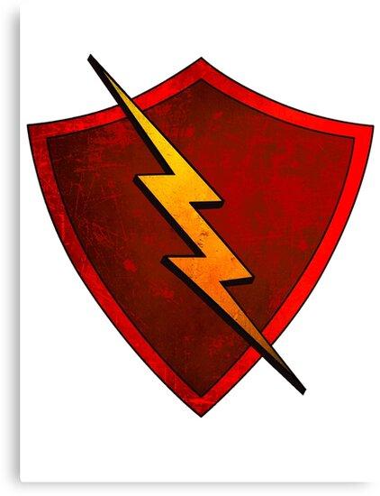 Superhero Design - Red Shield with Lightning Bolt by Chunga