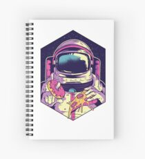 Funny Astronaut Eating Pizza And Donuts Shirt - Space Gift Spiral Notebook
