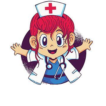 Womens Cute Female Woman Nurse Or Doctor Cartoon Shirt by 6thave