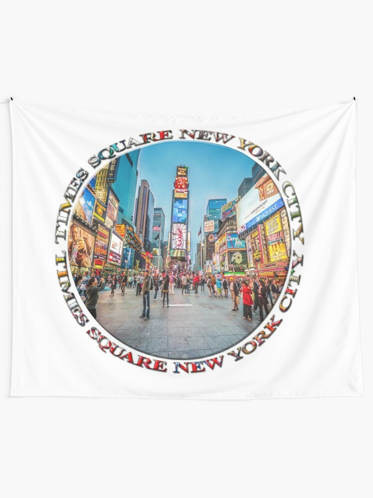 Alternate view of Times Square Sparkle (badge on white) Tapestry