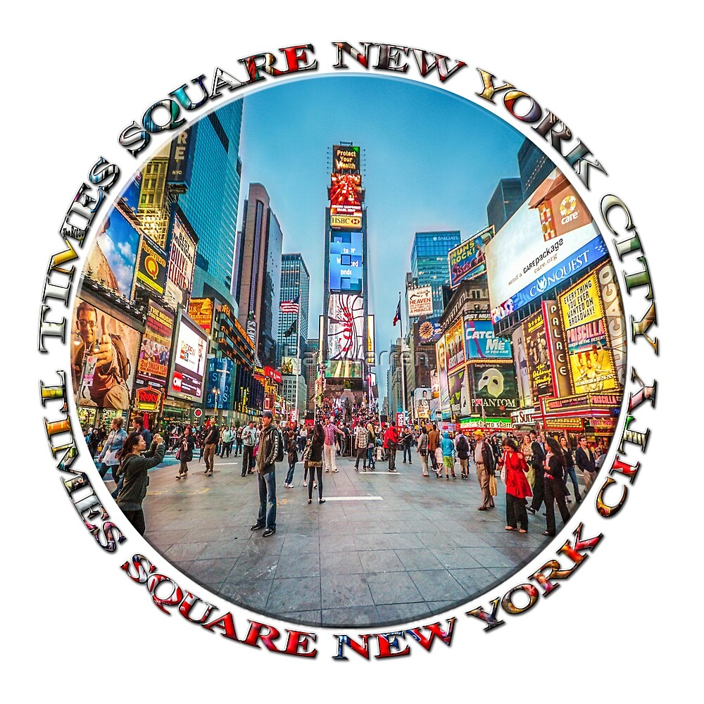 Times Square Sparkle (badge on white) by Ray Warren