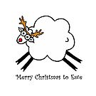 Merry Christmas to Ewe - Rudolph the Red-nosed Rein-sheep by Adrienne Body