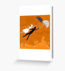 couple in love flying with umbrellas Greeting Card