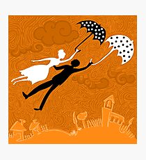 couple in love flying with umbrellas Photographic Print